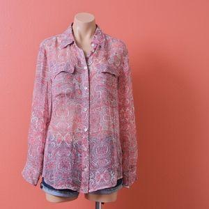 Equipment SIGNATURE SILK SHIRT Pink Paisley Shirt